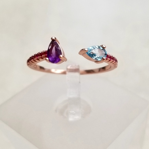 Artisan Rose Gold, Amethyst, Topaz and Rubies Ring